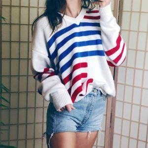VTG R+W+B baggy knit striped color block sweater